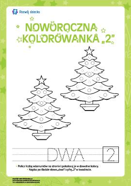 """Kolorowanka noworoczna """"Dwa"""""""