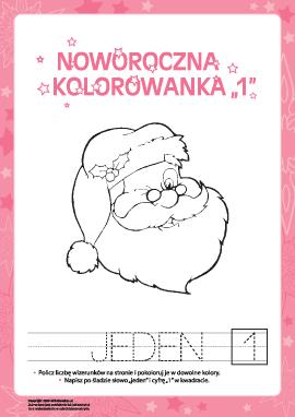"""Kolorowanka noworoczna """"Jeden"""""""