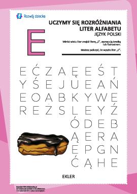 "Alfabet polski: rozpoznaj literę ""E"""