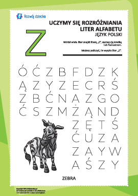 """Alfabet polski: rozpoznaj literę """"Z"""""""