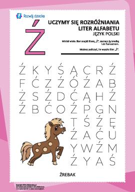 """Alfabet polski: rozpoznaj literę """"Ź"""""""