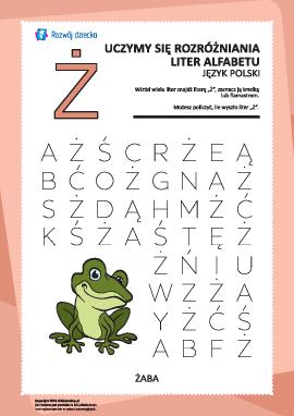 """Alfabet polski: rozpoznaj literę """"Ż"""""""