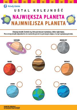 Ustalamy kolejność planet: największa – najmniejsza
