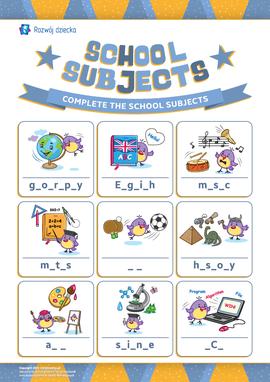 """Wpisujemy brakujące litery: """"Przedmioty szkolne"""" (język angielski)"""