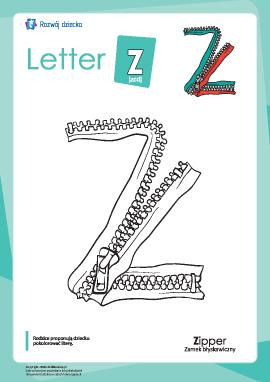 """Kolorowanka """"Alfabet angielski"""": litera """"Z"""""""