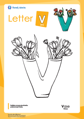 "Kolorowanka ""Alfabet angielski"": litera ""V"""