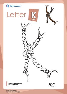 """Kolorowanka """"Alfabet angielski"""": litera """"K"""""""