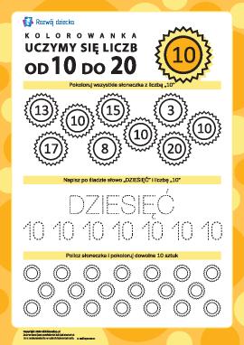 """Uczymy się liczby """"10"""""""