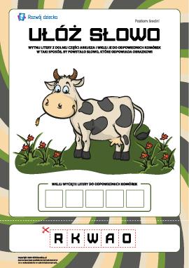 """Ułóż słowo """"krowa"""": poziom średni"""