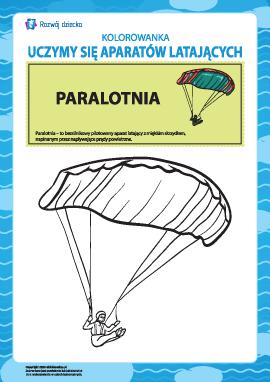Kolorowanka aparatów latających: paralotnia