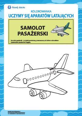 Kolorowanka aparatów latających: samolot pasażerski