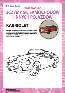 Kolorowanka pojazdów: kabriolet