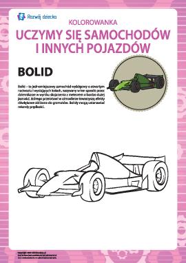 Kolorowanka pojazdów: bolid