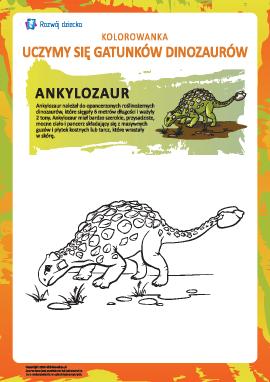 Kolorowanka dinozaury: ankylozaur