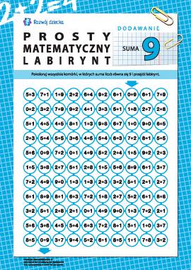 """Labirynt matematyczny: suma """"9"""""""