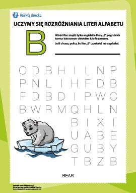 """Alfabet angielski: znajdź literę """"B"""""""