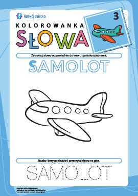 "Kolorowanka ""Słowa"" nr 3 (samolot)"