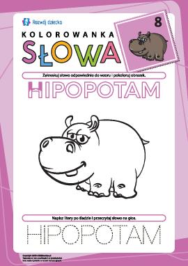"""Kolorowanka """"Słowa"""" nr 8 (hipopotam)"""