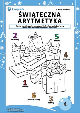 """Kolorowanka """"Arytmetyka noworoczna"""" nr4"""