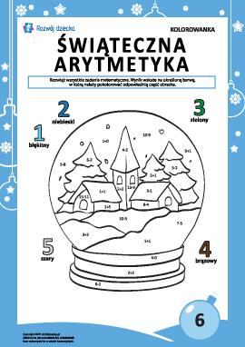 """Kolorowanka """"Arytmetyka noworoczna"""" nr6"""