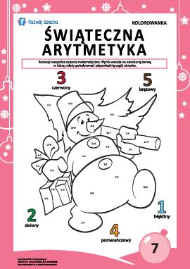 """Kolorowanka """"Arytmetyka noworoczna"""" nr7"""