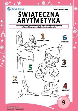 """Kolorowanka """"Arytmetyka noworoczna"""" nr9"""