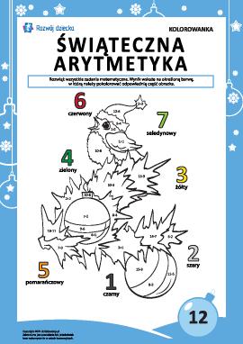 """Kolorowanka """"Arytmetyka noworoczna"""" nr12"""