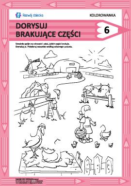 Dorysuj brakujące części rysunku nr 6