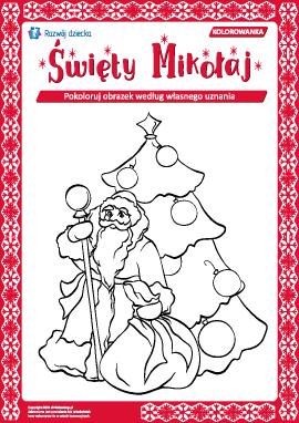 """Kolorowanka noworoczna """"Święty Mikołaj"""""""