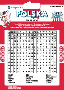 """Tematyczna łamigłówka """"Polska"""""""