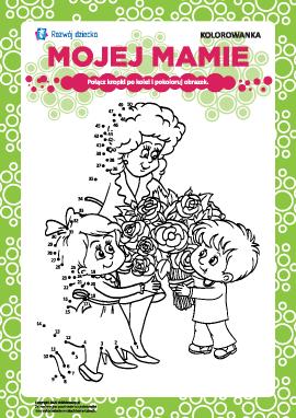 """Kolorowanka """"do Święta Matki"""": liczymy do pięćdziesięciu"""