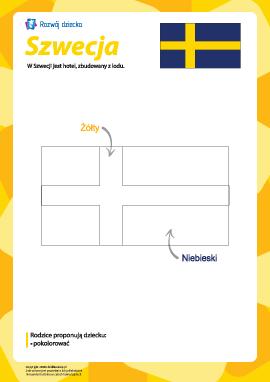 """Kolorowanka """"Flaga Szwecji"""""""