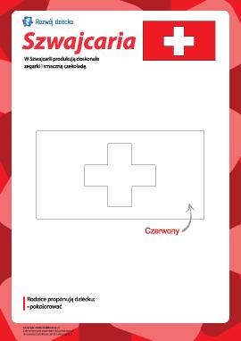 """Kolorowanka """"Flaga Szwajcarii"""""""