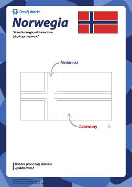 """Kolorowanka """"Flaga Norwegii"""""""