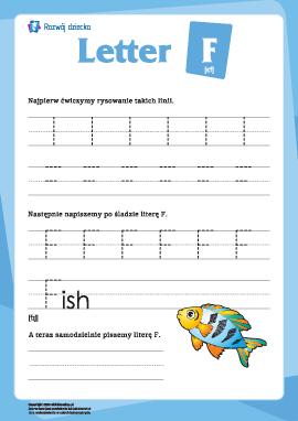 """Alfabet angielski: pisanie litery """"F"""""""
