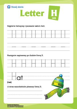 """Alfabet angielski: pisanie litery """"H"""""""