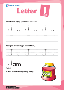 """Alfabet angielski: pisanie litery """"J"""""""