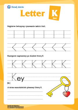 """Alfabet angielski: pisanie litery """"K"""""""