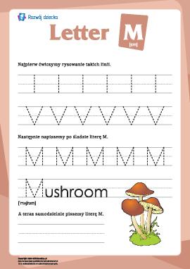 """Alfabet angielski: pisanie litery """"M"""""""