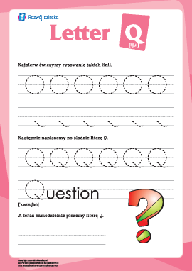 """Alfabet angielski: pisanie litery """"Q"""""""
