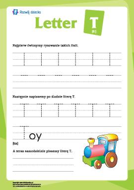 """Alfabet angielski: pisanie litery """"T"""""""