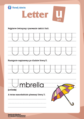 """Alfabet angielski: pisanie litery """"U"""""""