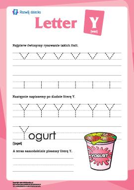 """Alfabet angielski: pisanie litery """"Y"""""""