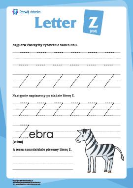"""Alfabet angielski: pisanie litery """"Z"""""""