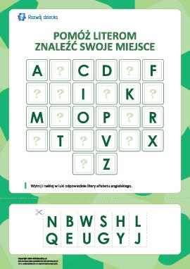 Ułóż alfabet angielski (12 liter pominiętych)