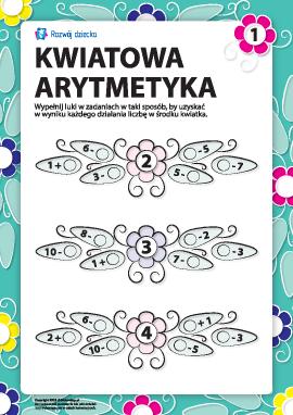 Arytmetyka kwiatowa nr 1: uzupełnij przykłady