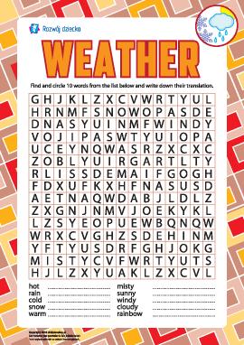 Szukamy angielskich słów: pogoda