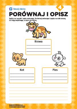 Opisz rysunki i porównaj nr 4 (zwierzęta)