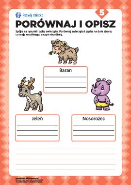 Opisz rysunki i porównaj nr 5 (zwierzęta)
