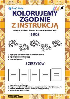 Pokoloruj zgodnie z instrukcją (róże i zeszyty)